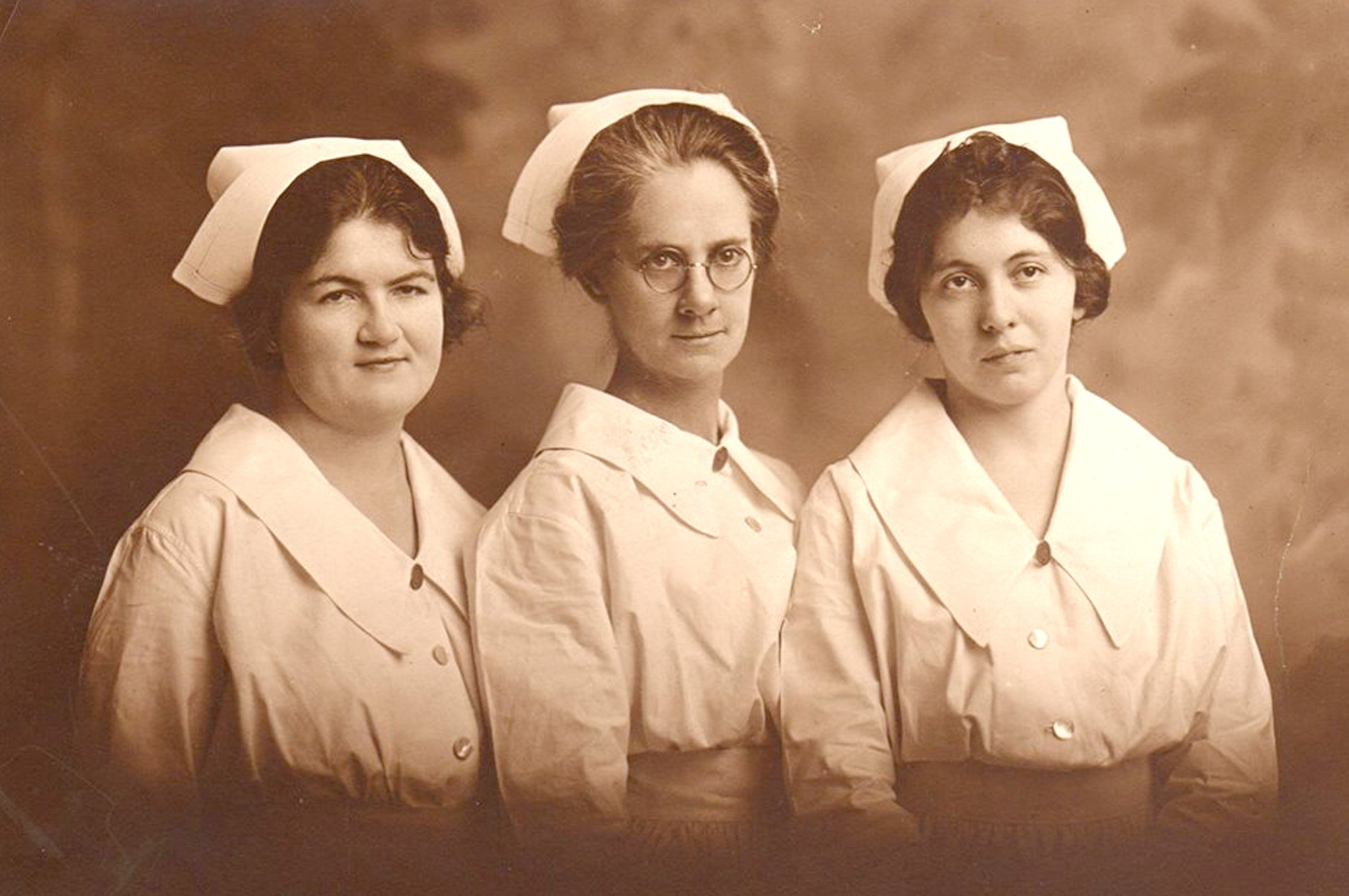 St. Joseph's Hospital nursing graduates from 1922 include, from left, Bernadette Scully, Anna Riley and Gladys Gordy.