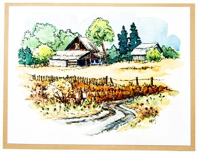 A grassy field and home is pictured in Bobbi KellyÕs artwork. , - AUGUST FRANK/TRIBUNE