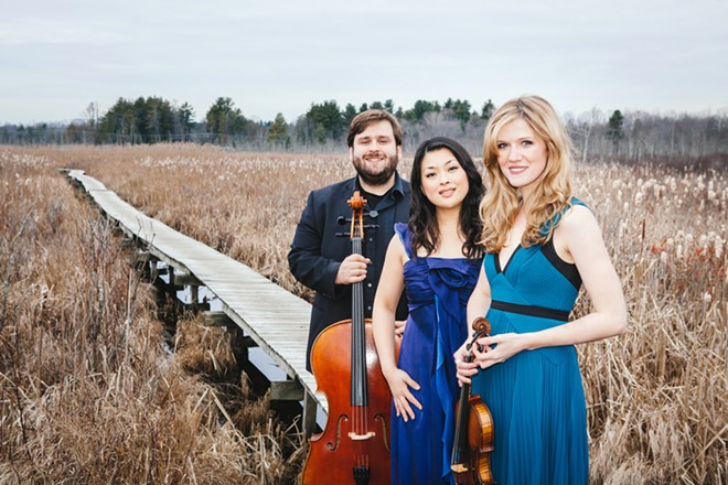 The Neave Trio includes cellist Mikhail Veselov, pianist Eri Nakamura and violinist Anna Williams - MARK ROEMISCH