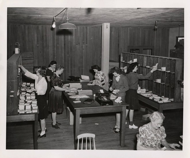 Staff work in the mail room at Psychiana headquarters in Moscow in this photo from 1935. - PSYCHIANA DIGITAL COLLECTION, DIGITAL INITIATIVES, UNIVERSITY OF IDAHO LIBRARY