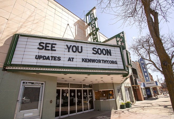 The marquee of the Kenworthy Performing Arts Cetre is seen in April 2020 on Main Street in Moscow. - GEOFF CRIMMINS/360
