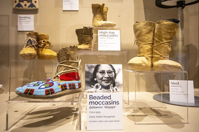 Moccasins by artist Helen Youngman on display at the Nez Perce National Historical Park in Spalding last week. - AUGUST FRANK
