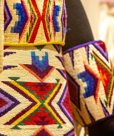 A colorful belt, arm bands and belt pouch are works by contemporary Nez Perce artisans on display at the Nez Perce National Historical Park in Spalding. - AUGUST FRANK