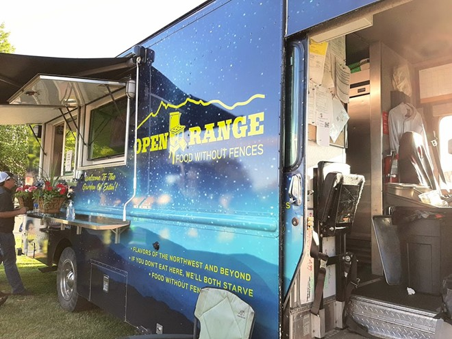 """Open Range food truck, with their motto """"If you don't eat here, we'll both starve."""" - BAILEY BROCKETT/INLAND 360"""