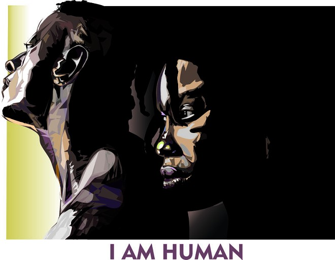 """""""I Am Human,"""" by Troy Riley Miles, is one of the works in the Black Lives Matter Artist Grant Exhibition on display at Jordan Schnitzer Museum of Art, WSU, Pullman. In 2020, the museum launched a grant program to fund new artwork that responds to the Black Lives Matter movement and systemic racism. It's on display through Dec. 18. - JORDAN SCHNITZER MUSEUM OF ART, WSU, PULLMAN"""