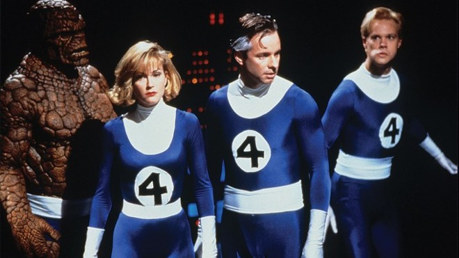 """This movie still from Roger Corman's 1994 """"Fantastic Four"""" film shows the cast from left: Ben Grimm (Michael Bailey Smith), Sue Storm (Rebecca Staab), Reed Richards (Alex Hyde-White) and Johnny Storm (Jay Underwood). - PHOTO COURTESY OF PHOTOFEST ON HOLLYWOOD REPORTER"""