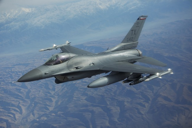 An F-16 flies over northern Afghanistan. - YOUNG KWAK