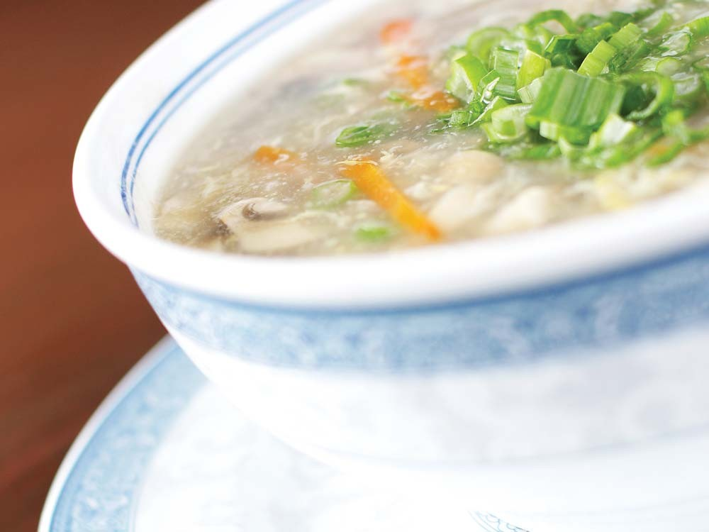 A bowl of Egg Flower Soup from China Garden - YOUNG KWAK