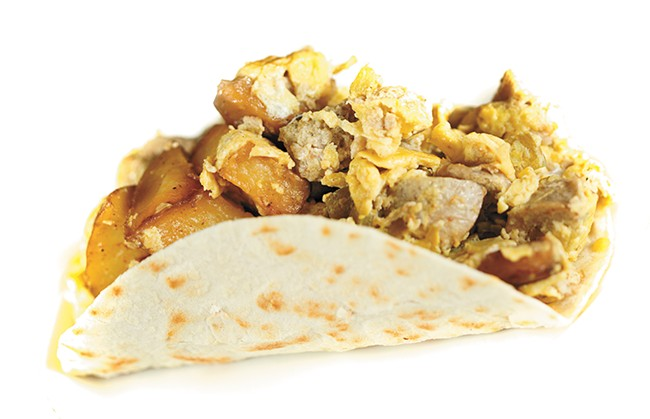 A chicken apple sausage burrito from 9th Street Bistro - YOUNG KWAK