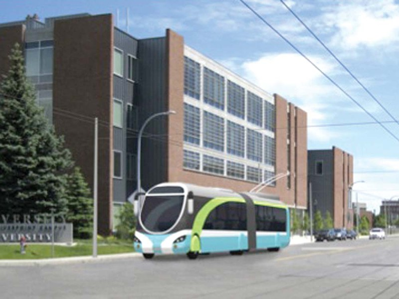 A computer model of what Spokane's trolley could look like