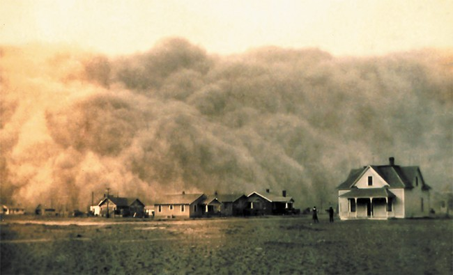 A dust storm approaching Stratford, Texas, in 1935 — the height of the Dust Bowl. - GEORGE F. MARSH
