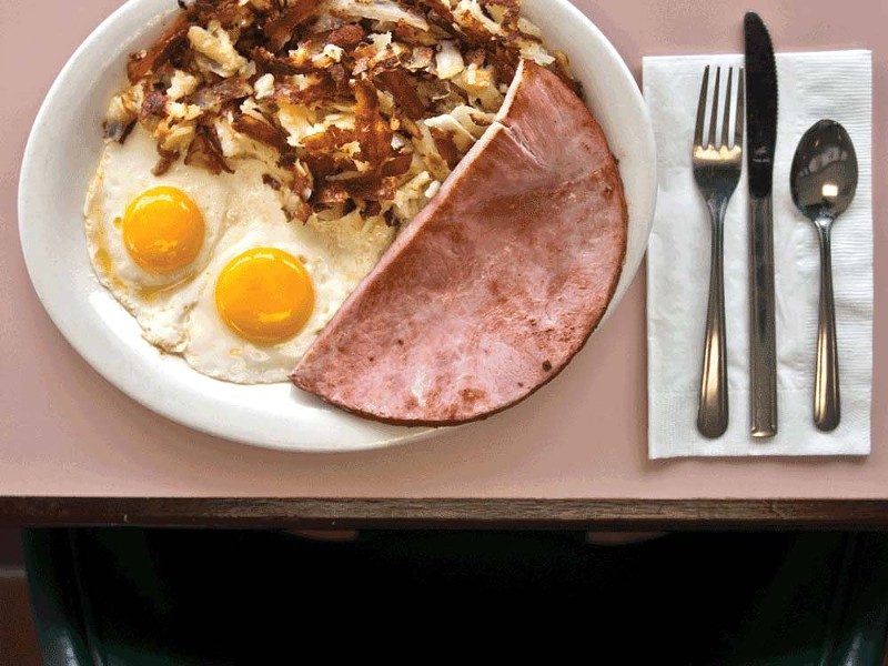 A hearty breakfast of ham and eggs at Jenny's Diner. - AMY HUNTER