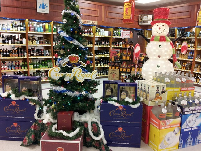 A holiday display at Good Spirits