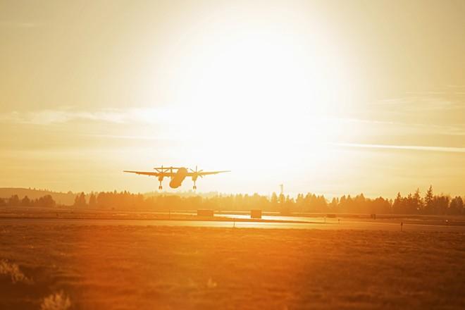 A Horizon Air Bombardier Dash 8 Q400 takes off from Spokane International Airport on Nov. 22. - YOUNG KWAK