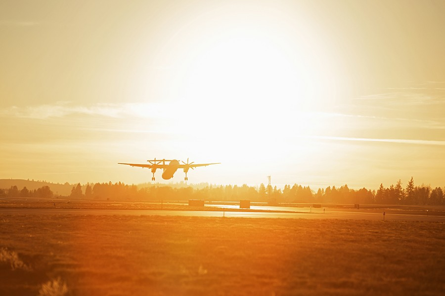 A Horizon Air Bombardier Dash 8 Q400 takes off from Spokane International Airport on Nov. 22. - YOUNG KWAK