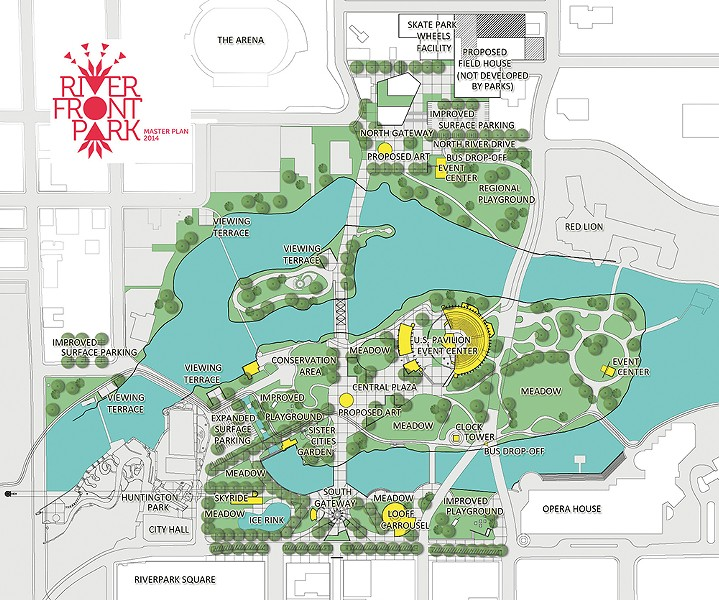 A map showing planned renovations to Riverfront Park.