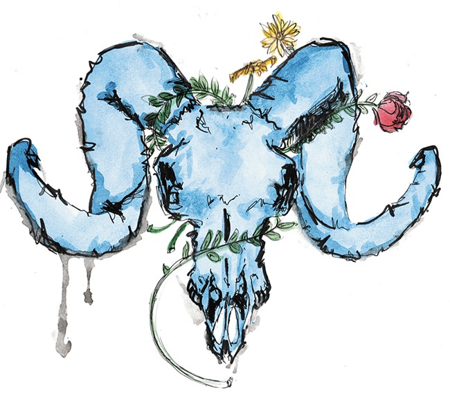 "A piece from Stodgell's ""Blue Skull Set"" watercolor series."