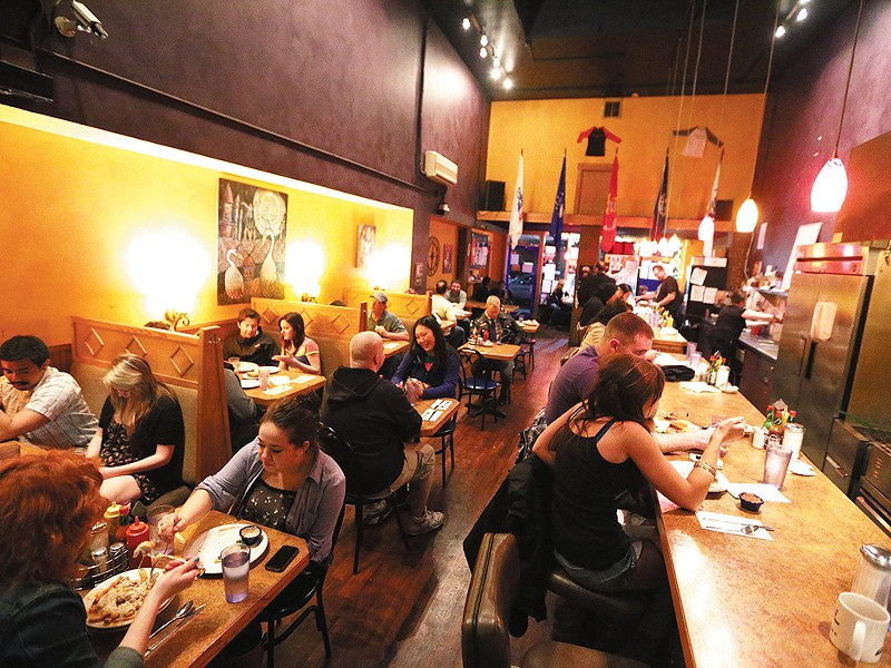 A typical weekend night at the Satellite Diner, one of downtown Spokane\'s late-night favorites. - YOUNG KWAK