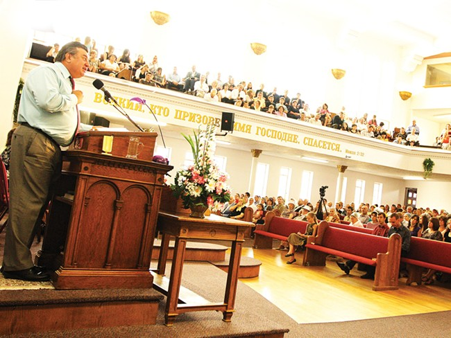 Alex Kaprian preaching at Pilgrim Slavic Baptist Church, which he founded. - YOUNG KWAK