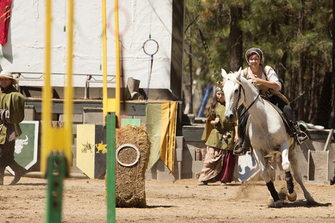 Alexandria Tull (Dame Edith Saxby) makes a run to grab a ring during Knightly Games on Horseback and Joust. - YOUNG KWAK