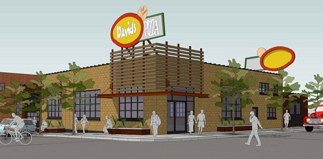 An artist's rendering of the planned revival of David's Pizza at the old Wonder Bread bakery at 803 N. Post. - COURTESY OF MARK STARR