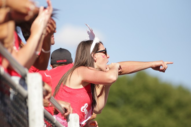 An Eastern Washington fan cheers during the second half. - YOUNG KWAK