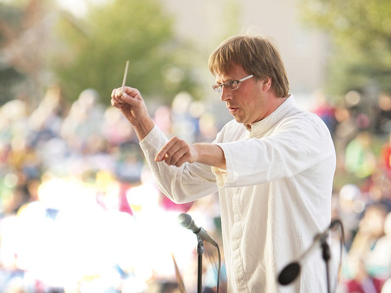 At Liberty Lake's Pavilion Park, Eckart Preu conducts the SSO's only free outdoor concert this season. - YOUNG KWAK PHOTO