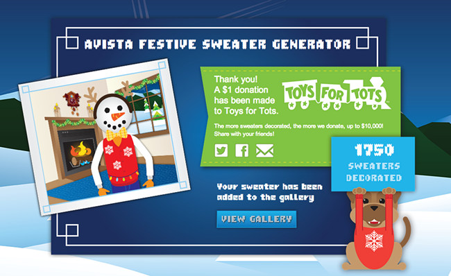 First attempt, sweater success! For each sweater, Avista will donate $1 to Toys for Tots.
