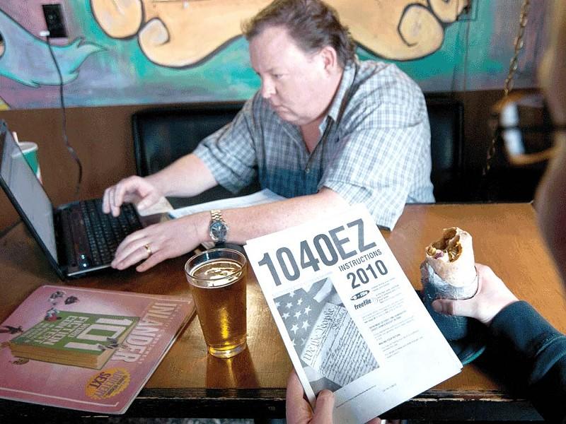 Beer, burrito and tax preparation by Dan Johnson. - AMY HUNTER