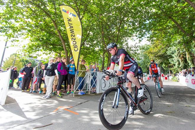 Bikers begin the 112-mile ride. - MATT WEIGAND