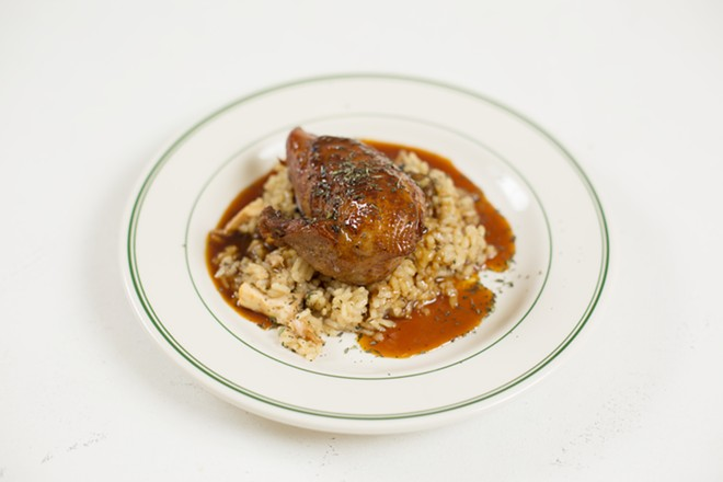 Braised Chicken from Durkin's Liquor Bar.