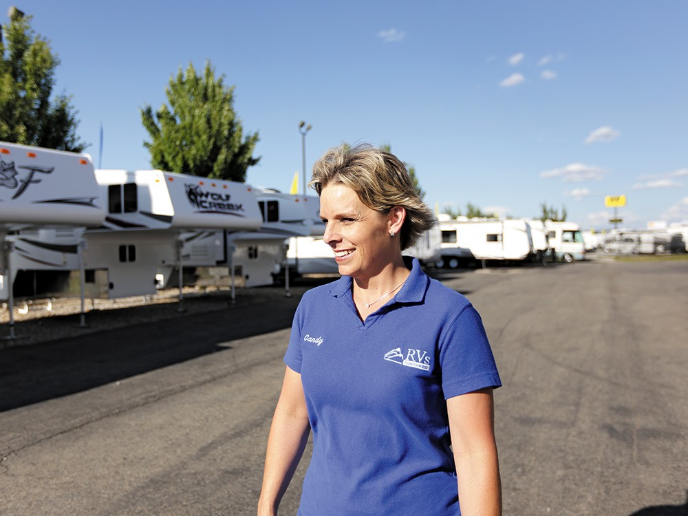 """Candy McAndrews is one of RVs Northwest's top salespeople: """"I'm competitive. I just pretend I'm not."""""""