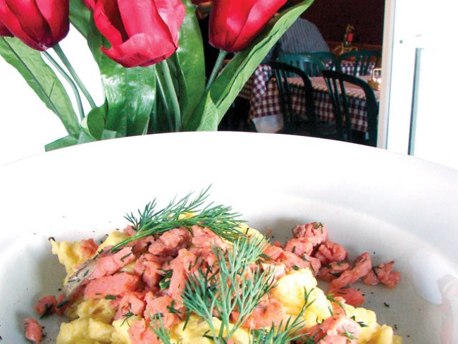 Castricum - an egg and salmon dish at Wooden Shoe. - CARRIE SCOZZARO