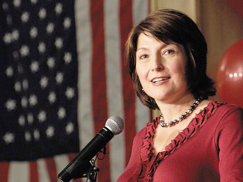 Cathy McMorris Rodgers, celebrating her victory at the Davenport Hotel last week. - YOUNG KWAK