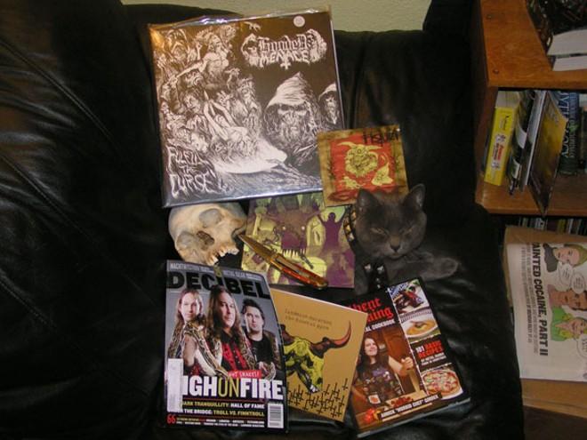 Heavy metal stuff and a human skull!
