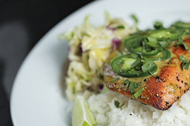 Jalapeno glazed salmon at Saranac Public House. - YOUNG KWAK