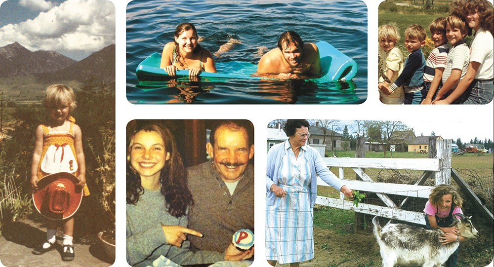 (Clockwise from left) Shields at 3 years old; Shields with her husband, Simeon Mills, on Lake Pend Oreille; Shields on far left; Shields, age 10, with her grandma Itha Anderson in Okanogan, Wash.; Shields at 17 with her father, Dr. John Paul Shields.