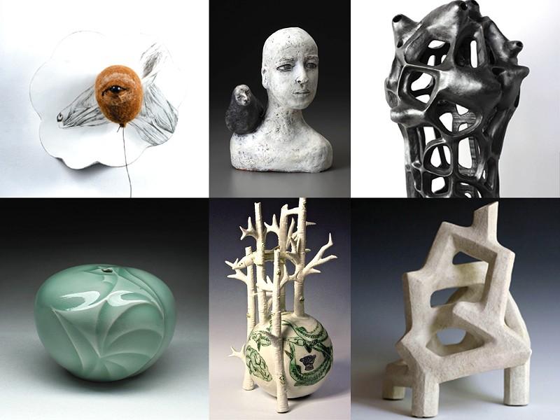 Clockwise from left, works by Matthew Dercole, Diane Sullivan, Joan Lurie, Joshua T. Wood, Margret K. Haydon and Bob Bruck.