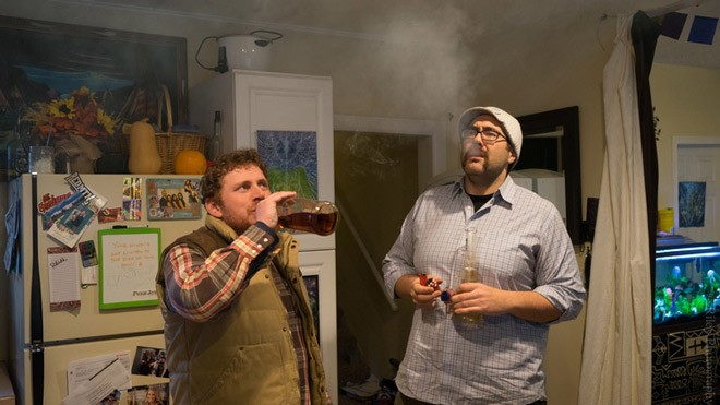 Comedians Casey Strain and Josh Teaford host the Weed and Whiskey podcast. - WEEDANDWHISKEY.NET