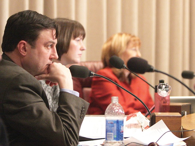 Council President Ben Stuckart (left) listens to public testimony. - YOUNG KWAK