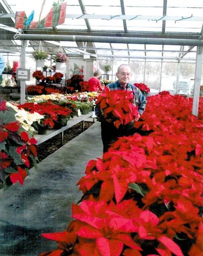 Creach, 74, in his greenhouse.