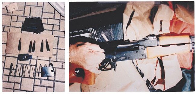 Crime scene photos show Mellberg's arsenal and assault rifle.