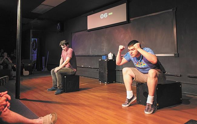 Dave Honeycutt, right, and Conner Monroe at Blue Door Theatre. - MATT WEIGAND