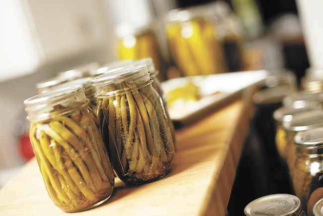 Dave Musser's pickled green beans, just one of the vegetables he pickles. - YOUNG KWAK