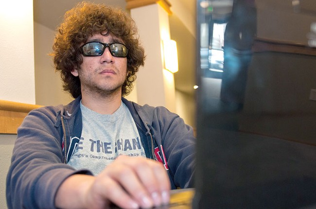 "Dealing with loss of sight and a new home, Gonzaga student Gabriel Castellanos is giving his memory a workout — ""because I can't write stuff down."" - AMY HUNTER"