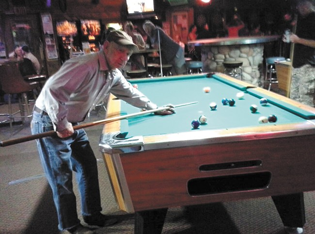 Delbert Belton playing pool at the Lariat, courtesy of Ted Denison