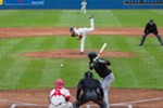 Derek Thompson (40) struck out five players for the Eugene Emeralds on Sunday. The Spokane Indians won 5-2 and are 3-0 for the season.