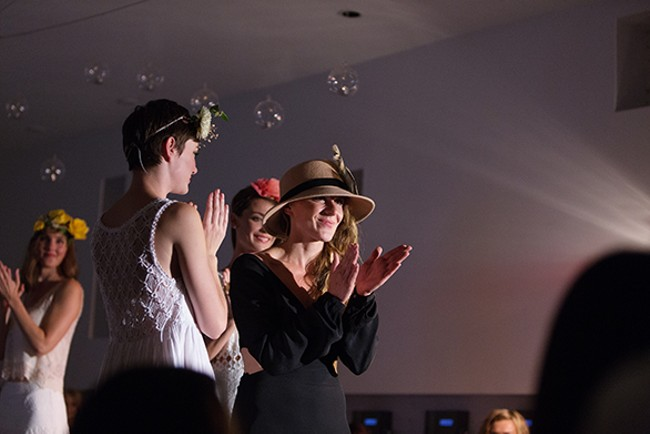 Designer Erin Haskell shows her appreciation at the end of the show. - YOUNG KWAK