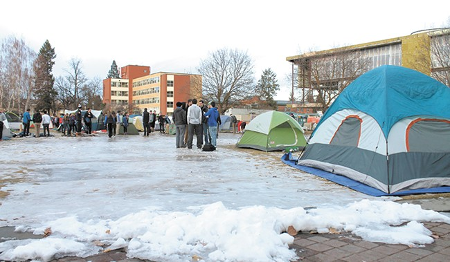 Despite snow and ice, 120 tents worth of students posted up outside the McCarthey Athletic Center when St. Mary's came to town in January.