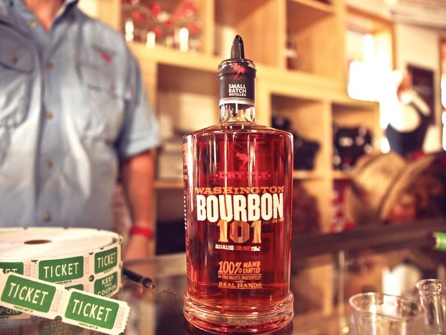 Dry Fly's new $65 bourbon, and the select few who got to taste it on Friday night. - JORDAN BEAUCHAMP